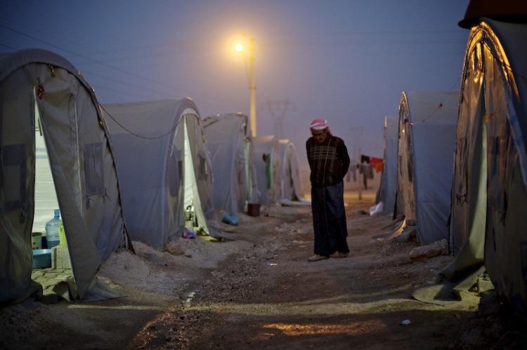Flüchtlinge nahe der Grenze zu Kobane